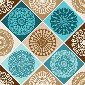 Mandala Diamond Geometric Patchwork V2 // Turquoise Blue, Caribbean Blue, Dark Brown, Caramel Brown, Khaki Tan, Cream