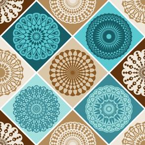 Mandala Diamond Geometric Patchwork V1 // Turquoise Blue, Caribbean Blue, Dark Brown, Caramel Brown, Khaki Tan, Cream