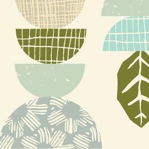 leaf geo patchwork cream