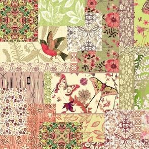 patchwork Bird Garden mint green