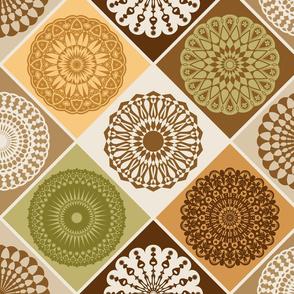 Mandala Diamond Geometric Patchwork V2 // Olive Green, Dark Brown, Beige, Khaki, Tan, Caramel Brown, Amber Yellow, Eggshell White