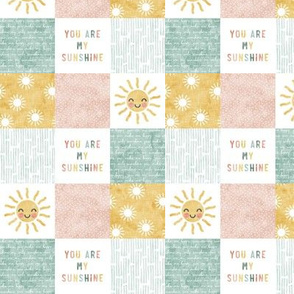 """(1.5"""" scale) You are my sunshine wholecloth - multi - suns patchwork - face -  pink, teal, gold  - C21"""
