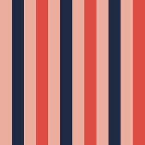 Stripes Half Inch -  Navy Red Pink