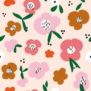 Floral on peach