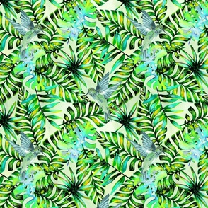 Green Tropical Watercolor Palm Leaf Pattern