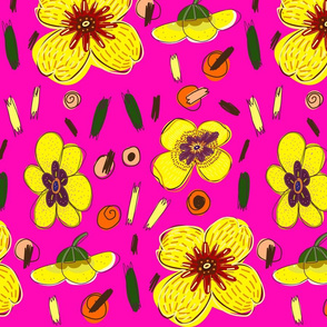 Seamless floral pattern on neon pink background. Yellow flower bundle in retro style.