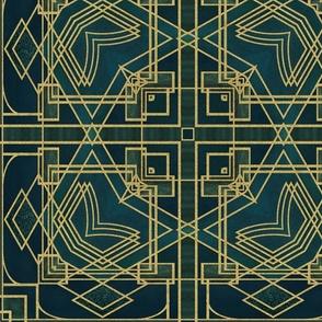 Elegant Art Deco Gold Emerald