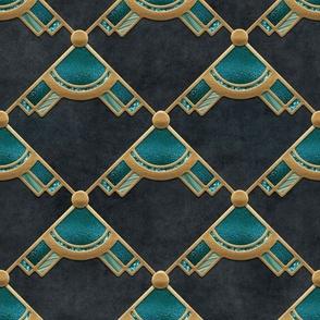 Elegant Art Deco Retro Design Gold Green Turquoise