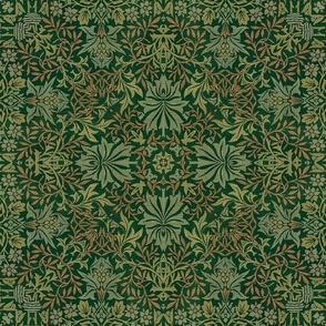 William Morris Tribute  Green Amber Smaller Scale