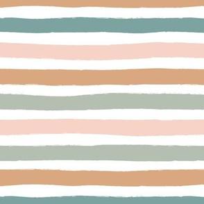 Little distorted horizontal stripes basic minimal strokes spring summer beach tropics white blush sienna mint sage