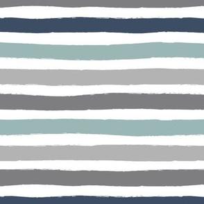 Little distorted horizontal stripes basic minimal strokes spring summer beach tropics slate gray sage navy blue