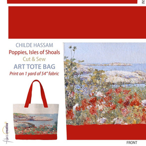 Childe Hassam Poppies Tote bag // 1 yard Cut and sew panel