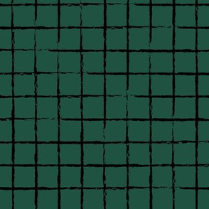 The minimalist distorted grid abstract checkered stripes geometric neutral nursery in black forest green