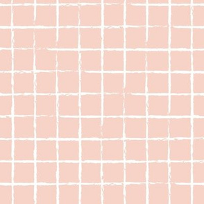 The minimalist distorted grid abstract checkered stripes geometric neutral nursery in blush peach pale nude white