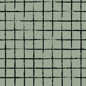 The minimalist distorted grid abstract checkered stripes geometric neutral nursery in black sage green