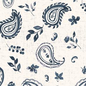 paisley watercolour indigo