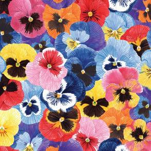 Pansies pattern tile