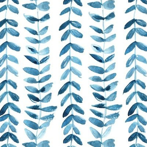 Teal watercolor bindweed plant painted vines for modern home decor a114-3