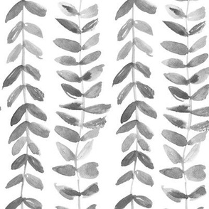 Graphite grey watercolor bindweed plant painted vines for modern home decor a114-6