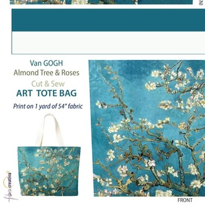 Van Gogh Cut and Sew Tote Bag // Blossoming Almond Tree and Roses