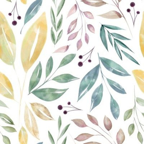 Watercolor Vintage Leaves in White