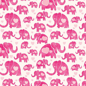 Elephants and Hearts Pink Watercolor Seamless Pattern