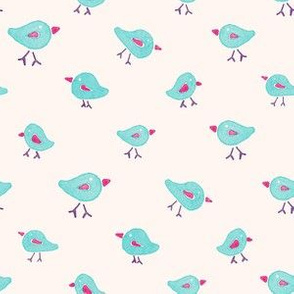 Teal and Pink Watercolor Tiny Birds Seamless Pattern