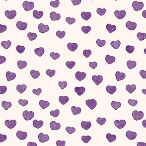 Purple Watercolor Tiny Hearts Seamless Pattern