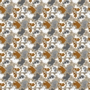 Tiny Trotting assorted Havanese and paw prints - faux linen