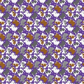 Tiny Trotting assorted Havanese and paw prints - purple