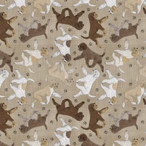 Trotting Lagotto Romagnolo and paw prints - faux linen