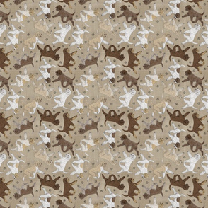 Tiny Trotting Lagotto Romagnolo and paw prints - faux linen