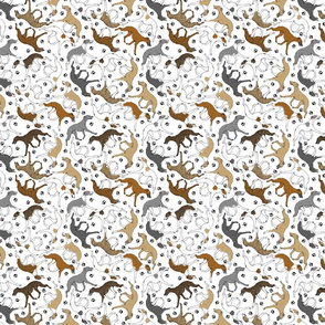 Tiny Trotting assorted Whippets and paw prints - white