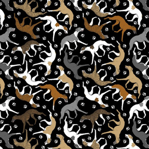 Trotting assorted Whippets and paw prints - black