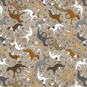 Trotting assorted Whippets and paw prints - faux linen