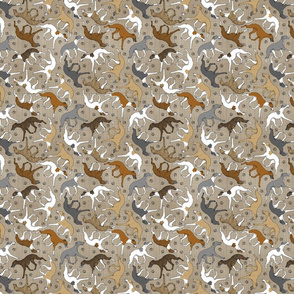 Tiny Trotting assorted Whippets and paw prints - faux linen