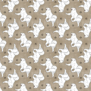 Trotting Samoyed and paw prints - faux linen