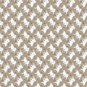 Tiny Trotting Samoyed and paw prints - faux linen