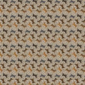 Tiny Trotting Shikoku Ken and paw prints - faux linen