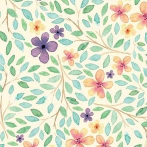 Spring Feminine Wildflower // Blossom Garden, Plenty Leaves, and Flowers // Vanilla Color