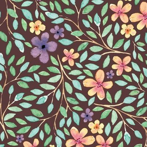 Spring Feminine Wildflower // Watercolor, Blossom Garden, Plenty Leaves, and Flowers // Brown Color