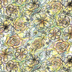 Flowers in Colour Pencil and Ink