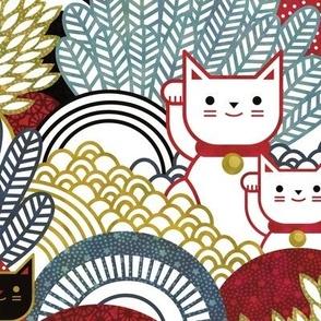 Manekineko  Cat- Japanese Lucky Cats Garden- Maneki Neko Good Luck Talisman- Medium