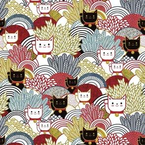 Manekineko  Cat- Japanese Lucky Cats Garden- Maneki Neko Good Luck Talisman- Dark Medium- Red, Golden, Yellow and Black