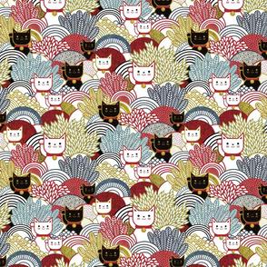 Manekineko  Cat- Japanese Lucky Cats Garden- Maneki Neko Good Luck Talisman- Dark Small- Red, Golden, Yellow and Black Small Scale- Face Mask