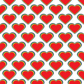 Hearts Pattern Red Yellow Green Blue Purple