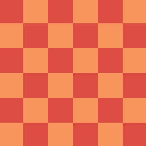 Checkered 1 inch - Tangerine and Red
