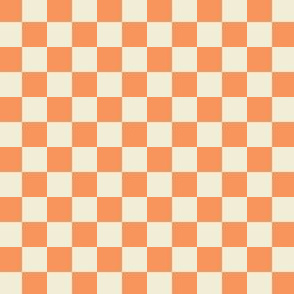 Checkered Half inch - Tangerine and Ivory