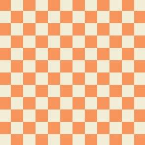 Checkered Half inch - Tangerine and Ivory