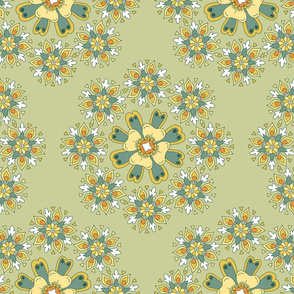 Wreath of floral rosettes on green small
